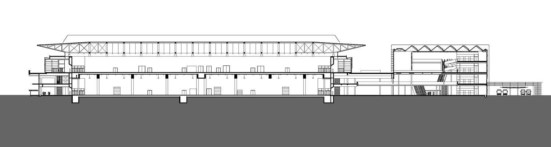Messehalle 11 und Portalhaus FFM Schnitt